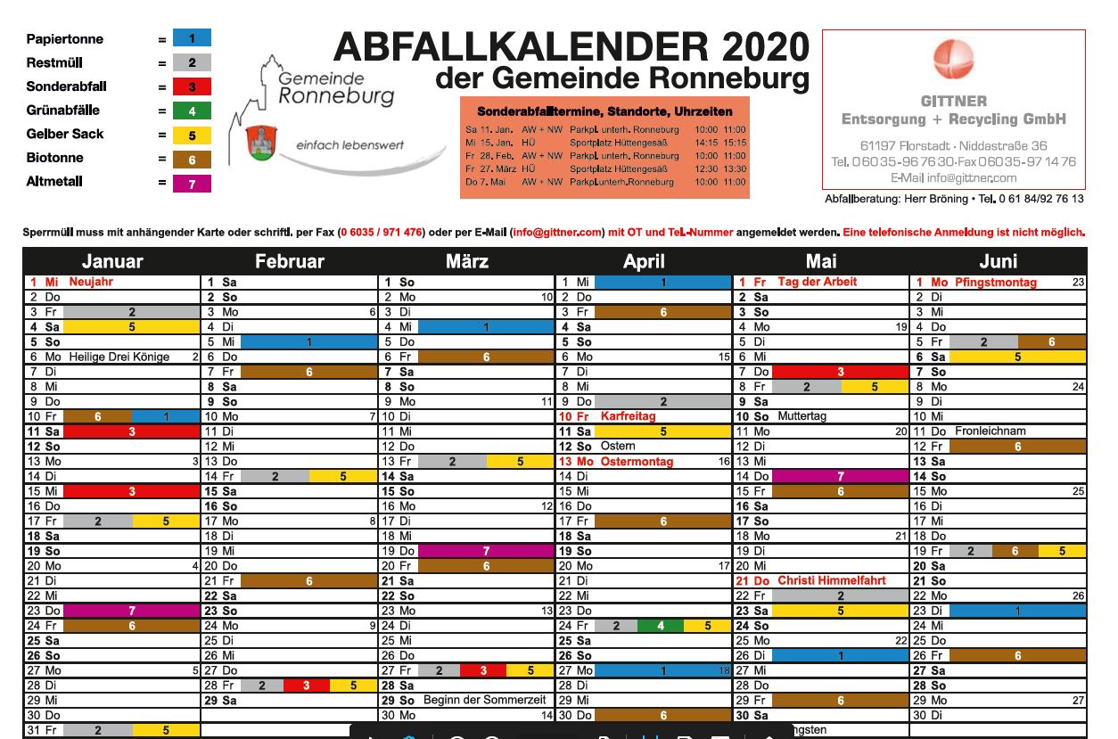 Müllkalender 2020
